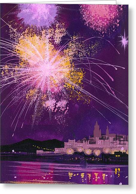 Fireworks Greeting Cards - Fireworks in Malta Greeting Card by Angss McBride