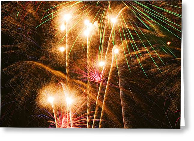 Fireworks in night sky Greeting Card by Garry Gay