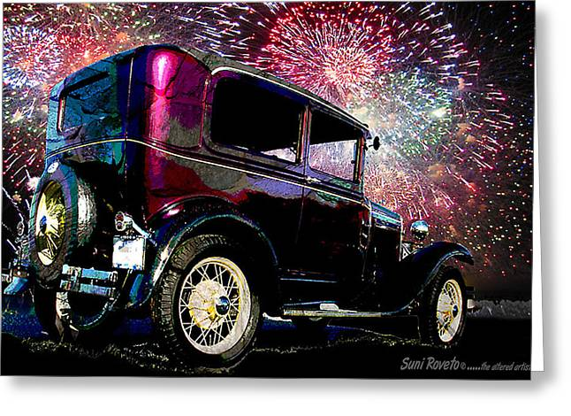 Fireworks In The Ford Greeting Card by Suni Roveto