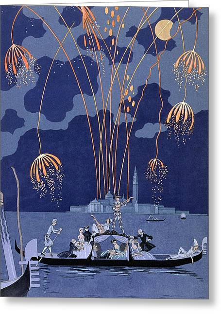 Displaying Greeting Cards - Fireworks in Venice Greeting Card by Georges Barbier