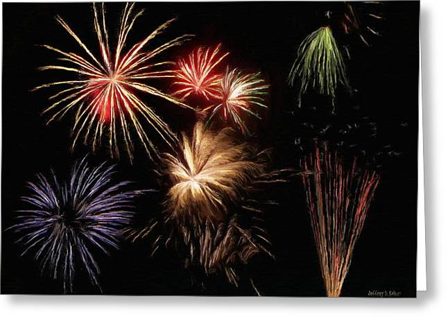 Purple Fireworks Greeting Cards - Fireworks Greeting Card by Jeff Kolker