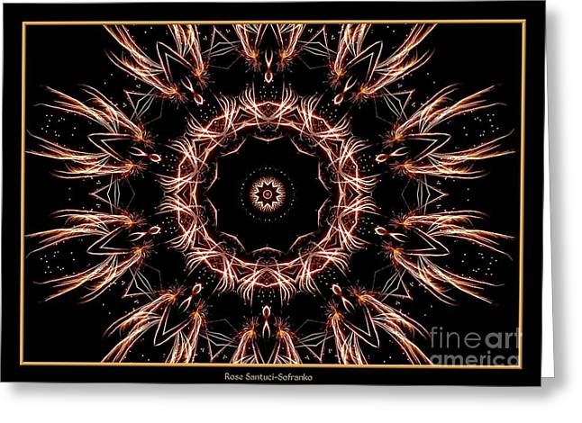 Bottle Rockets Greeting Cards - Fireworks Kaleidoscope 7 Greeting Card by Rose Santuci-Sofranko