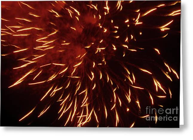 Bastille Photographs Greeting Cards - Fireworks light up the sky while celebrating Bastille Day Greeting Card by Sami Sarkis