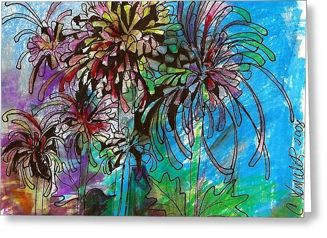Claudia Smaletz Greeting Cards - Fireworks Mums Greeting Card by Claudia Smaletz