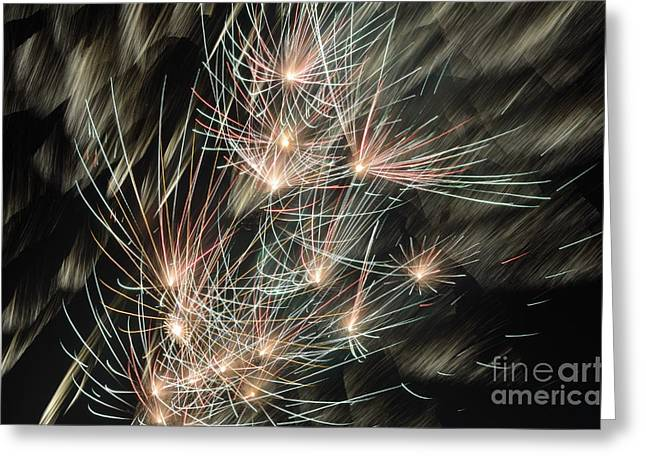 Bastille Photographs Greeting Cards - Fireworks on Bastille Day Greeting Card by Sami Sarkis