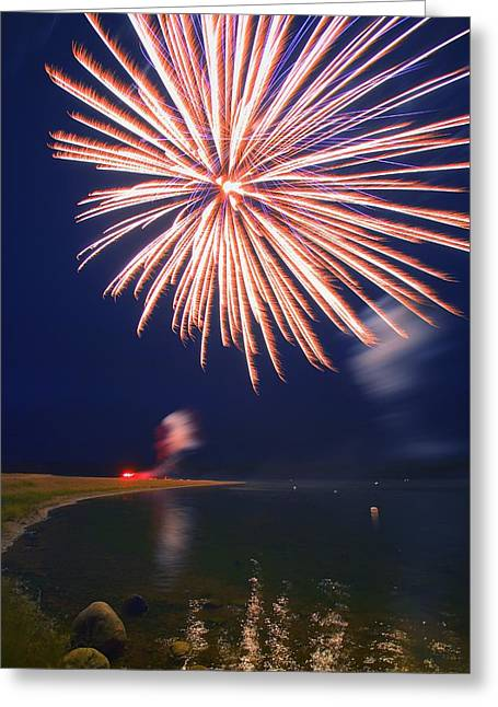 Combusting Greeting Cards - Fireworks Over A Body Of Water Greeting Card by Carson Ganci