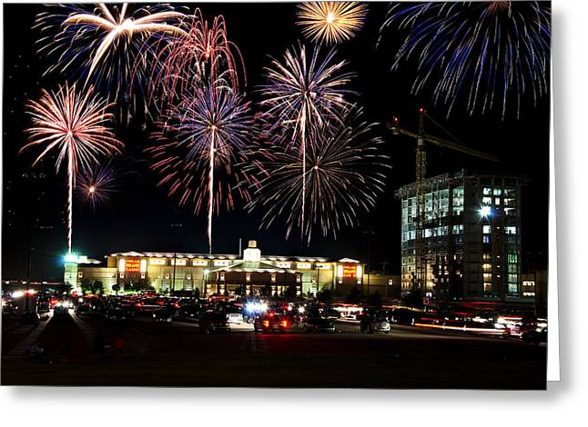 4th Of July Prints Greeting Cards - Fireworks Over Firelake Greeting Card by Ricky Barnard