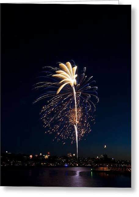 4th July Pyrography Greeting Cards - Fireworks Over Lake Washington Greeting Card by David Rische