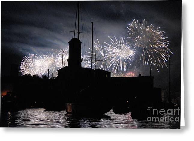 Bastille Photographs Greeting Cards - Fireworks over Marseilles Vieux-Port on July 14th Bastille Day Greeting Card by Sami Sarkis