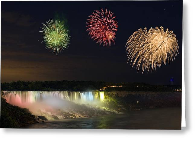 Festivities Greeting Cards - Fireworks Over The American Falls Greeting Card by Darwin Wiggett