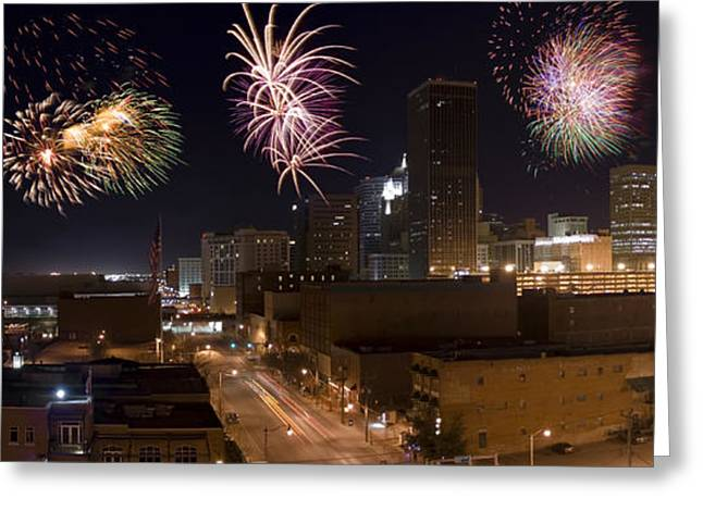 Celebration Art Print Greeting Cards - Fireworks Over The City Greeting Card by Ricky Barnard