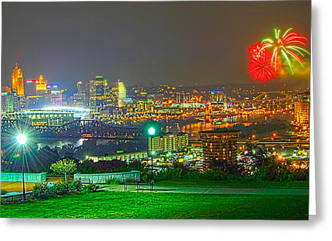 Print On Canvas Greeting Cards - Fireworks over the city skyline Greeting Card by Randall Branham