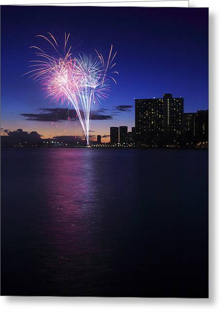 4th July Greeting Cards - Fireworks over Waikiki Greeting Card by Brandon Tabiolo - Printscapes