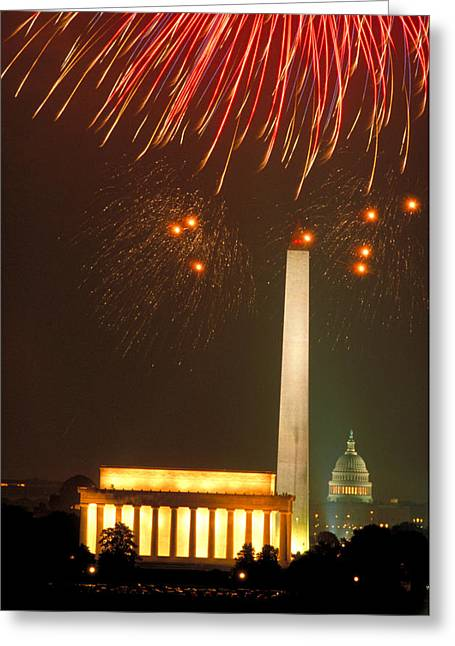 July Fourth Greeting Cards - Fireworks over Washington DC Mall Greeting Card by Carl Purcell