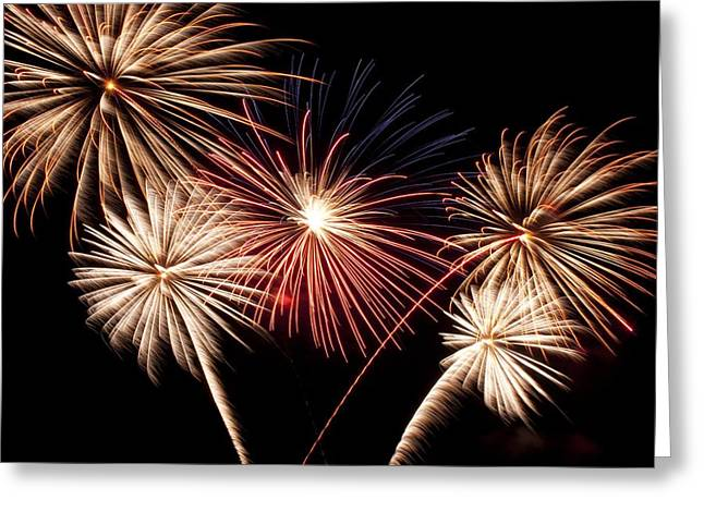 Rockets Red Glare Greeting Cards - Fireworks Greeting Card by Scott Wood