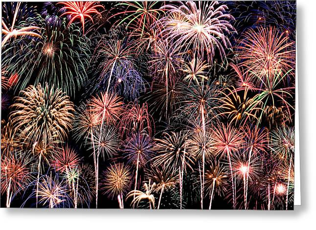 Blended Images Greeting Cards - Fireworks Spectacular II Greeting Card by Ricky Barnard