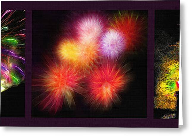 Fireworks Mixed Media Greeting Cards - Fireworks Triptych Greeting Card by Steve Ohlsen