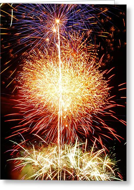 Pyrotechnics Greeting Cards - Fireworks_1591 Greeting Card by Michael Peychich