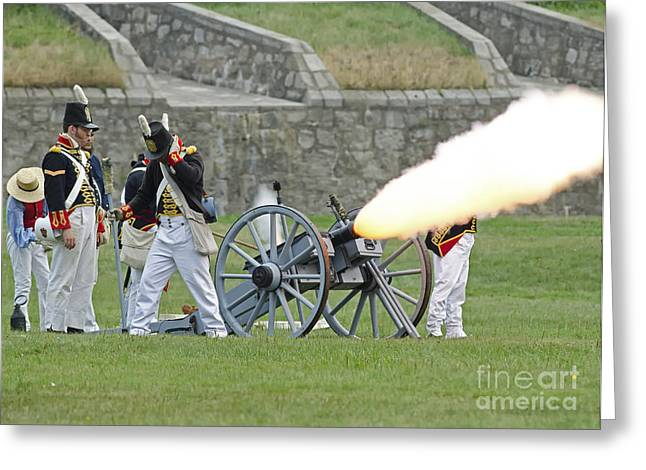 In 1812 Greeting Cards - Firing Cannon Greeting Card by JT Lewis