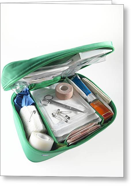 Lint Greeting Cards - First Aid Kit Greeting Card by Tek Image