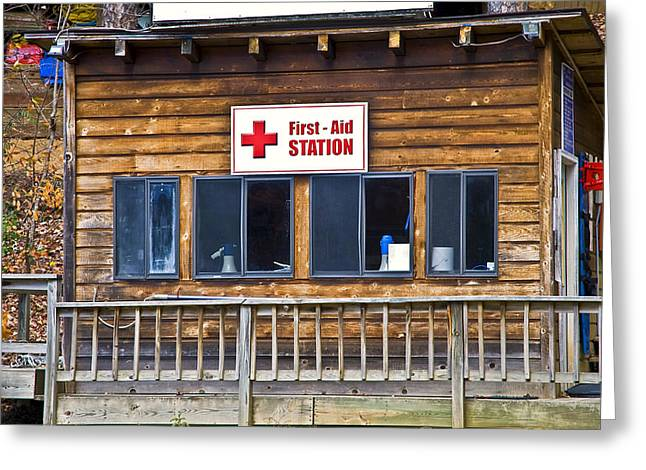 First Aid Station Greeting Card by Susan Leggett