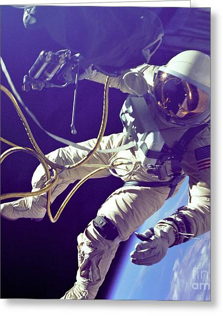 Spacesuit Greeting Cards - First American Walking In Space, Edward Greeting Card by Nasa