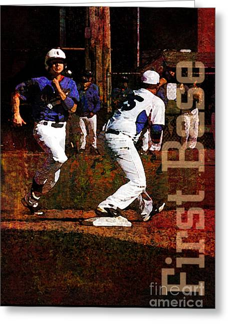 First Base Greeting Card by John Turek