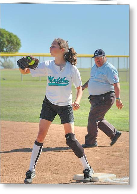 Girls Softball Greeting Cards - First Base Greeting Card by Richard Omura
