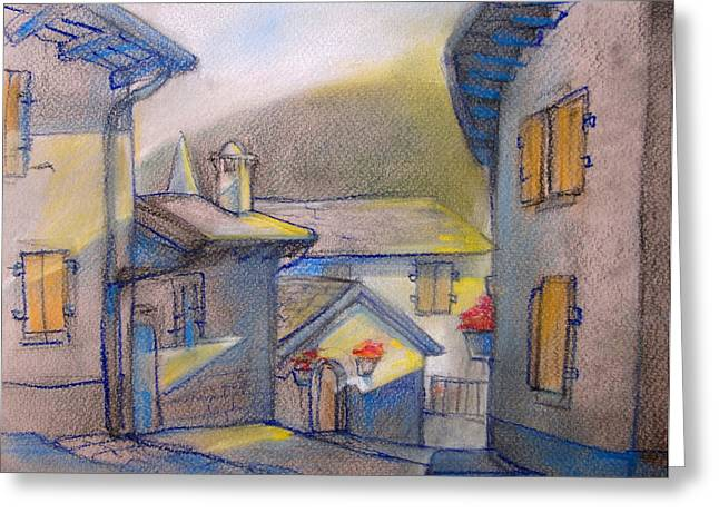 Small Towns Pastels Greeting Cards - First Beams  Greeting Card by Khromykh Natalia