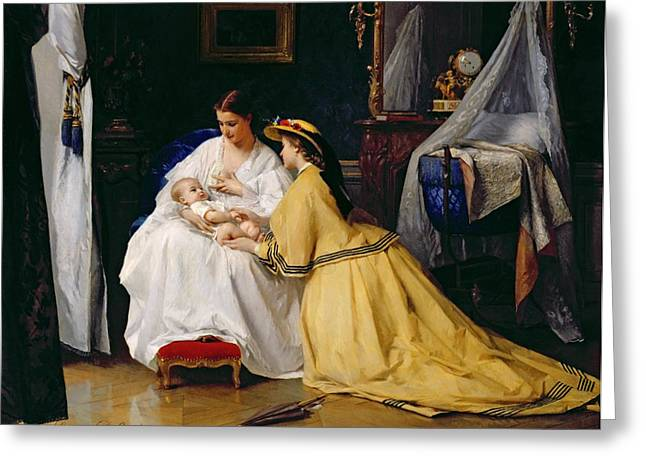 Breast Feeding Greeting Cards - First Born Greeting Card by Gustave Leonard de Jonghe