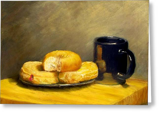 Donuts Pastels Greeting Cards - First Call...Breakfast Greeting Card by Jack Skinner