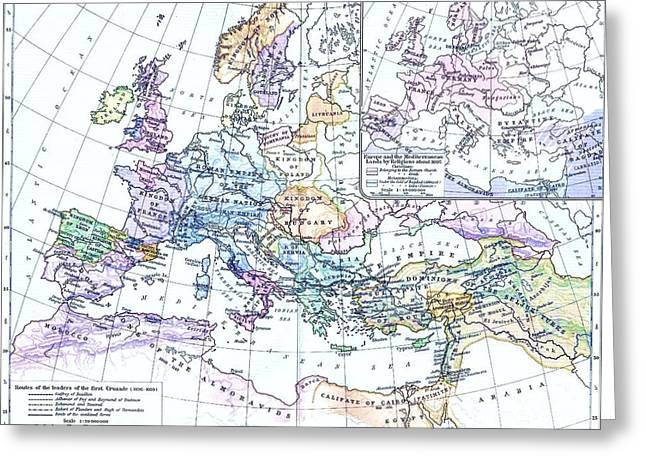 First Crusade Map  Greeting Card by Pg Reproductions