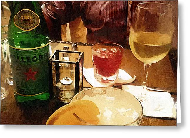 Wine-glass Greeting Cards - First Date Greeting Card by RC DeWinter