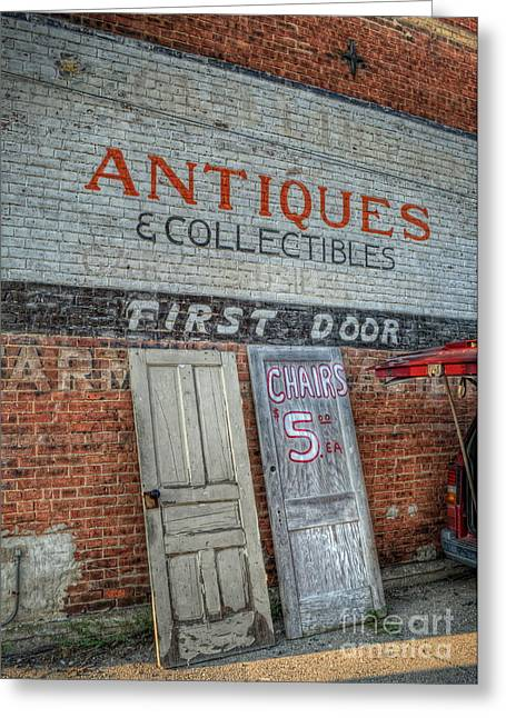 First Door Antiques Greeting Card by Pamela Baker