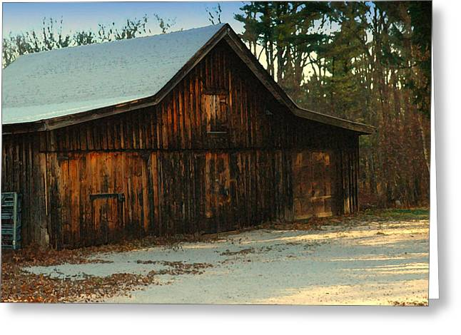 Barn Digital Art Greeting Cards - First Dusting of Snow Greeting Card by Ross Powell