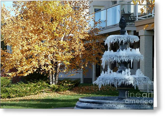 Fontain Greeting Cards - First Frost Greeting Card by Anna  Duyunova