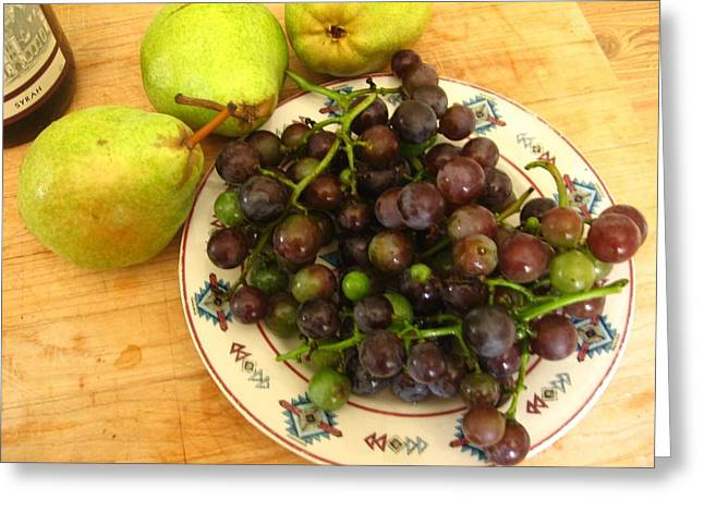 Concord Grapes Greeting Cards - First Harvest Greeting Card by Deb Martin-Webster