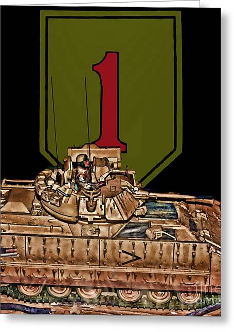 Big Red One Greeting Cards - First Infantry Division Bradley Fighting Vehicle Greeting Card by Tommy Anderson