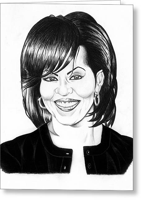 Michelle Obama Drawings Greeting Cards - First Lady Greeting Card by Jeff Stroman