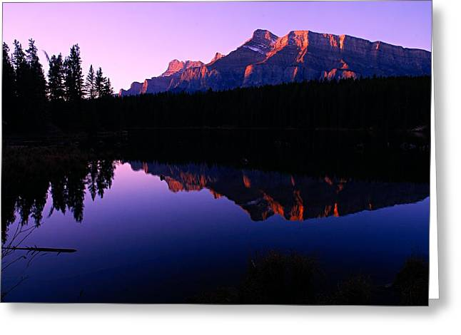 Rundle Greeting Cards - First Light on Mount Rundle Greeting Card by Larry Ricker