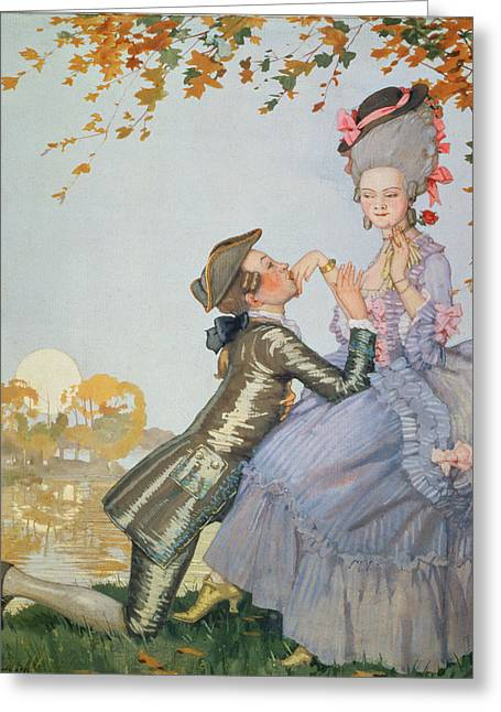 First Sunset Greeting Cards - First Love Greeting Card by Konstantin Andreevic Somov