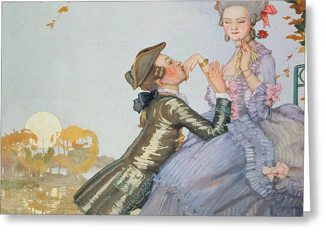 First Love Greeting Card by Konstantin Andreevic Somov
