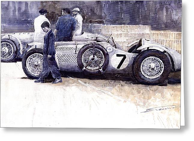 Watercolour Paintings Greeting Cards - First Met Up Talbot Lago Le Mans 1950 Greeting Card by Yuriy  Shevchuk