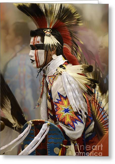 Fancy Dancer Greeting Cards - Pow Wow First Nation Dancer Greeting Card by Bob Christopher