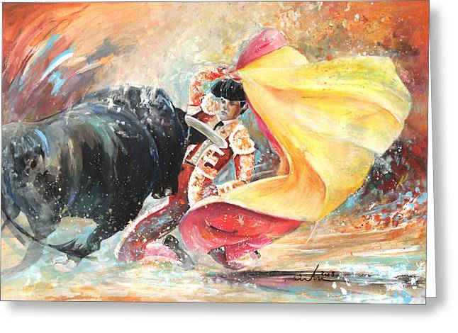 Toreador Paintings Greeting Cards - First Pass Greeting Card by Miki De Goodaboom