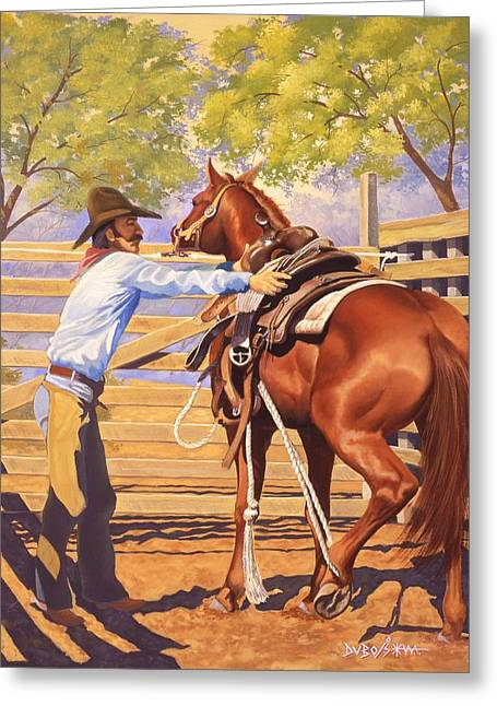 American Cowboy Artist Greeting Cards - First Saddling Greeting Card by Howard Dubois