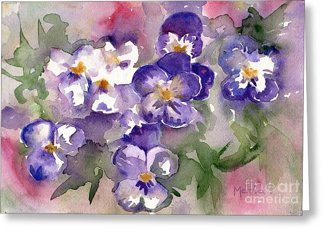Johnny Jump Up Pansy Greeting Cards - First Sign Of Spring Greeting Card by Maria