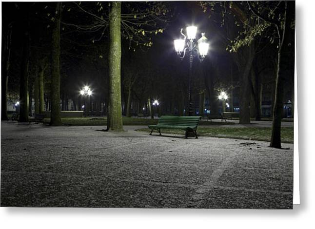 Vichy Greeting Cards - First snow in park near Opera Greeting Card by Alexander Davydov