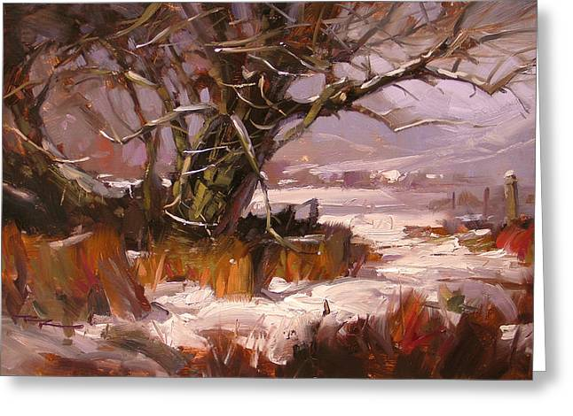 First Snow Greeting Card by Richard Robinson