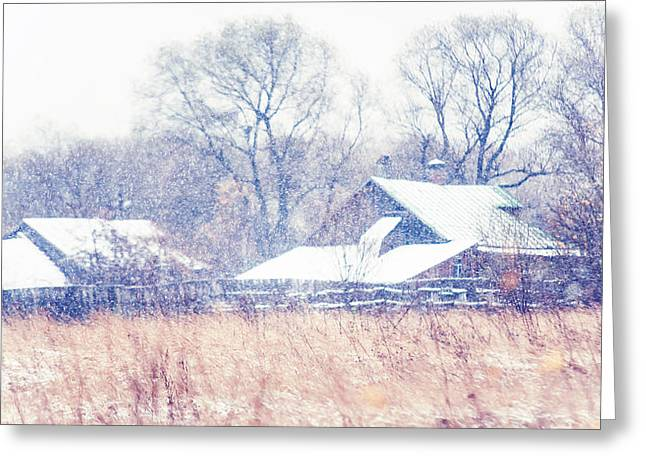 Fine Art Grisaille Greeting Cards - First Snow. Village Greeting Card by Jenny Rainbow